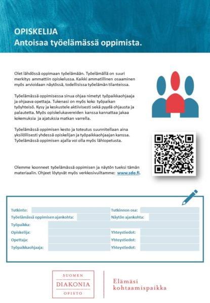 Työelämässä oppimisen infokirje opiskelijalle